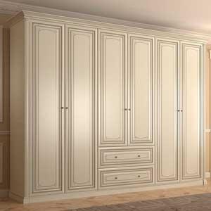 Классический распашной шкаф на заказ 6 дверей с ящиками